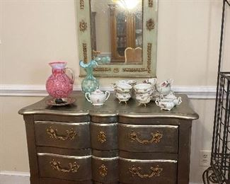 Silver painted chest with ormolu accents,