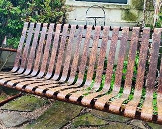 Antique iron bench