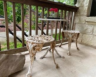 Small iron patio table and stools