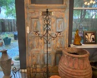 Old NOLA door and lots of great pots