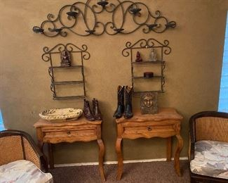 French country pine side tables and cane chairs