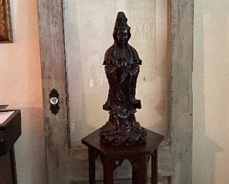 Rosewood Quan Yin  statue  Old NOLA door