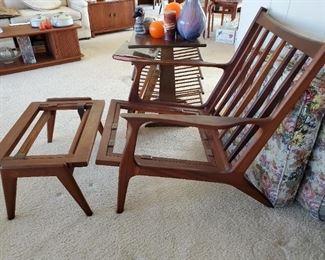 MCM walnut chair and ottoman