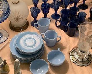 Blue Delphite cherry blossom childs dishes, cobalt blue glassware