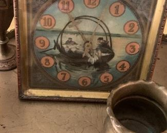 Antique wind up clock and other brass items