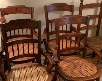 4 antique cane bottom chairs