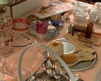 Silver plate flatware, dresser sets
