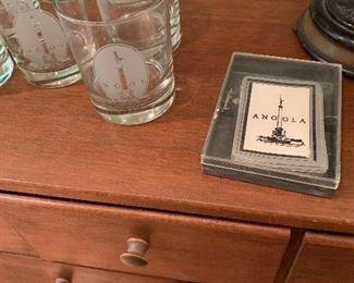 Angola glasses, cards