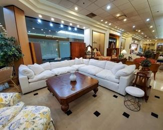 This down filled sectional is absolutely in like new - condition - purchased in  Florida from an estate.  Perfectly clean and so so comfortable!
