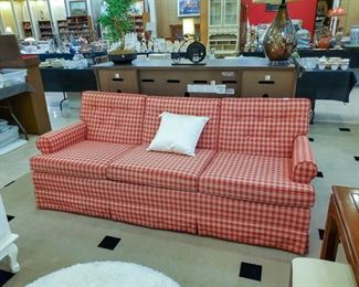 Ethan Allen red and white plaid couch.  Clean and excellent condition!