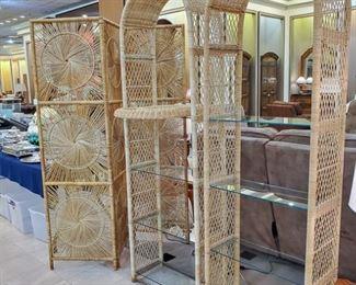 Rattan shelving, room divider, mirrors....
