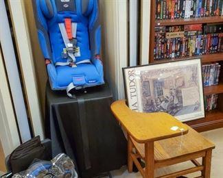 Diono Rainier Car seat and accessories.  Vintage desk/chair!