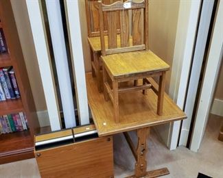 Adorable!  Vintage child table/2 chairs set.  VHS holder on the left.