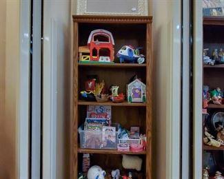 Toys!  Bulletin board frame on top!