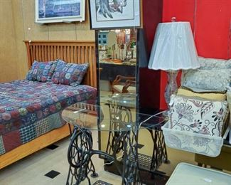 Vintage treadle machine glass tables - we have two!