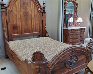 ABSOLUTELY BEAUTIFUL!!  Originally purchased by the Country Spanish Shop in Jackson, MO - from an estate in St. Louis.  From the 1920's.  Considering the age, in excellent condition!  This bed is being sold as part of a three piece set (bed, dresser, mirror).  We will be taking bids until the beginning of our estate sale on June 16 at 12:00 pm.  Please send bids to tdaachilders@yahoo.com.  There is a reserve price.  If reserve is not met by that time, a price will be posted for immediate purchase.