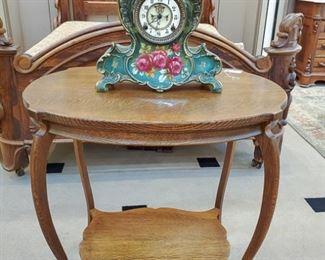 Antique table!  NOTICE THAT CLOCK!!