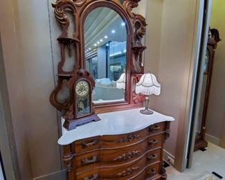 ABSOLUTELY BEAUTIFUL!!  Originally purchased by the Country Spanish Shop in Jackson, MO - from an estate in St. Louis.  From the 1920's.  Considering the age, in excellent condition!  This dress/mirror is being sold as part of a three piece set (bed, dresser, mirror).  We will be taking bids until the beginning of our estate sale on June 16 at 12:00 pm.  Please send bids to tdaachilders@yahoo.com.  There is a reserve price.  If reserve is not met by that time, a price will be posted for immediate purchase.