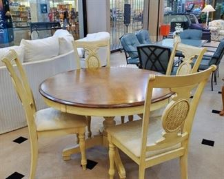 """One of my personal favorites in this sale!  Hillsdale Furniture Cumberland Collection 48"""" round pedestal table and four chairs.  Excellent condition!"""