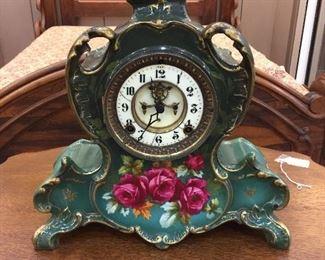 Vintage Ansonia porcelian rose floral clock - working.