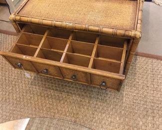 Divided drawer inside bamboo wooden 2 drawer chest