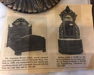 Newspaper clipping inside the drawer of the magnificent dresser/mirror we have!