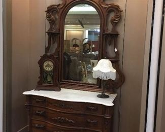 ABSOLUTELY BEAUTIFUL!!  Originally purchased by the Country Spanish Shop in Jackson, MO - from an estate in St. Louis.  From the 1920's.  Considering the age, in excellent condition!  This dresser/mirror is being sold as part of a three piece set (bed, dresser, mirror).  We will be taking bids until the beginning of our estate sale on June 16 at 12:00 pm.  Please send bids to tdaachilders@yahoo.com.  There is a reserve price.  If reserve is not met by that time, a price will be posted for immediate purchase.
