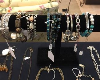 Lots of higher quality jewelry:  Brighton, Coldwater Creek, Premier, and many pieces purchased from Crosno Jewelers in Cape,