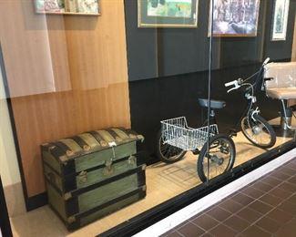 Vintage trunk, bike, barber stool!
