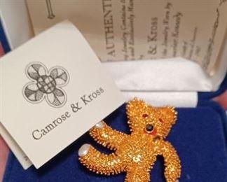 Jackie Kennedy Camrose & Kross Teddy Bear Pin
