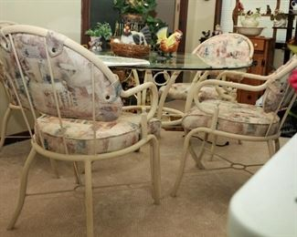 PATIO BEVELED GLASS TOP TABLE AND UPHOLSTERED CUSHIONS CHAIRS SET