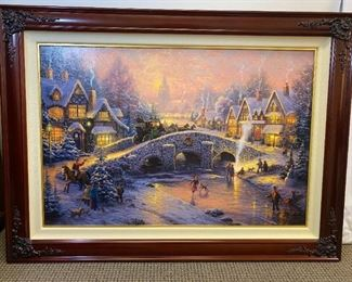 "Thomas Kincade -  Handcrafted by The Thomas Kincade company. #63/145.Frame 44""x32"" Painting 35""x24"""