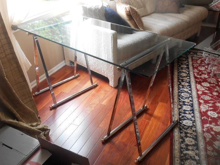 Mid Century Glass Top Console with Chrome A Frame Bases
