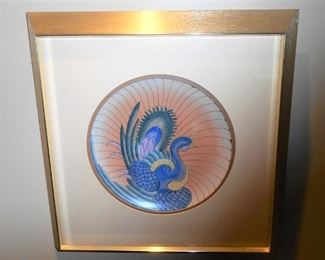 """Harris Strong Cloisonne Plate Titled """"Peacock I"""""""