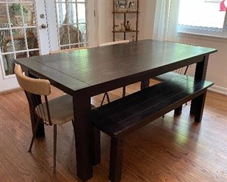Farm house table, bench and vintage 1950s dining chairs