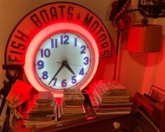 Large Original 1930s/40s Advertising Neon Clock