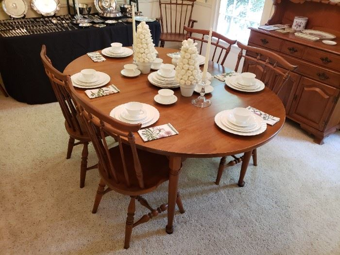 Spraque & Carleton Hard Rock Maple Dining Table w/ 6 Chairs