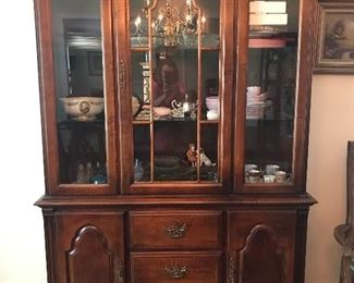 Stanley Solid Wood Lighted China Cabinet