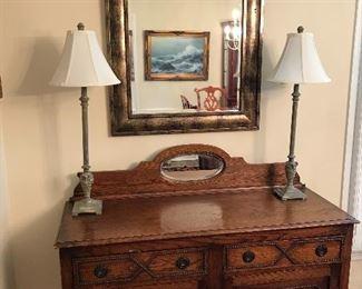Solid Oak Antique Sideboard w/Mirror                                       Buffet Lamps (2)                                                                                     Framed Mirror