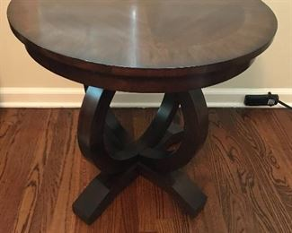 Solid Inlaid Wood Round Side Table