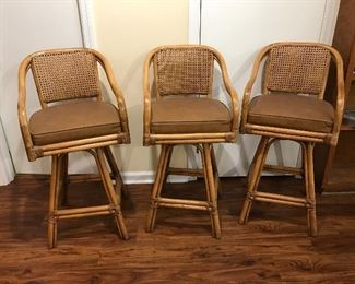 """Vintage Rattan Bar Stools (3)                                                   (29""""High to the seat)"""