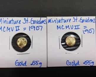 Two MINI St. Gaudens Gold Eagle coins
