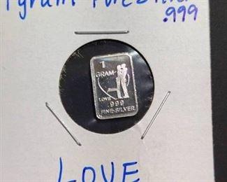 MINI . 999 Silver Bar - LOVE