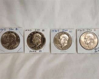 "1973, 1974, 1976 ""Ike"" Eisenhower $1 Coins (DCAM included)"