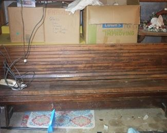 Antique wooden bus station bench