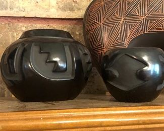 Signed Native American blackware pottery