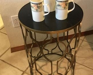 MCM style metal geometric side or sofa table with marble top