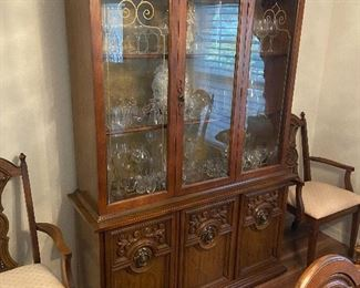 Dining China Cabinet with matching table, chairs, and buffet server