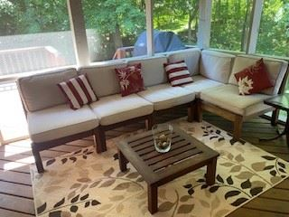 Patio Season is upon us!  Give your outdoor hangout a little upgrade with this super comfy sectional  to your patio!  This will be sold as a set to include the whole couch as well as both tables located on the screened in porch.