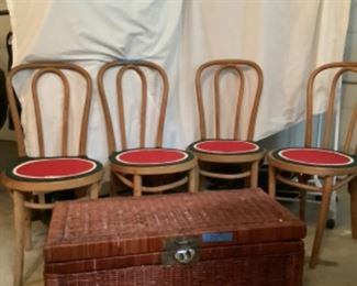 Set of four antique cane back chairs